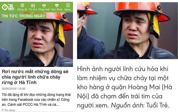 Ảnh lính cứu hỏa ở Hà Nội của Tuổi Trẻ thành lính chữa cháy rừng Hà Tĩnh? - Ảnh 2.