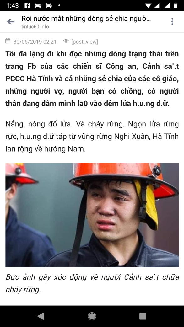 Ảnh lính cứu hỏa ở Hà Nội của Tuổi Trẻ thành lính chữa cháy rừng Hà Tĩnh? - Ảnh 3.