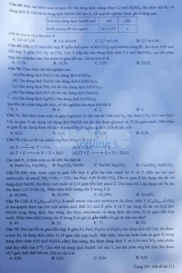 Đáp án môn hóa thi THPT quốc gia - Ảnh 6.