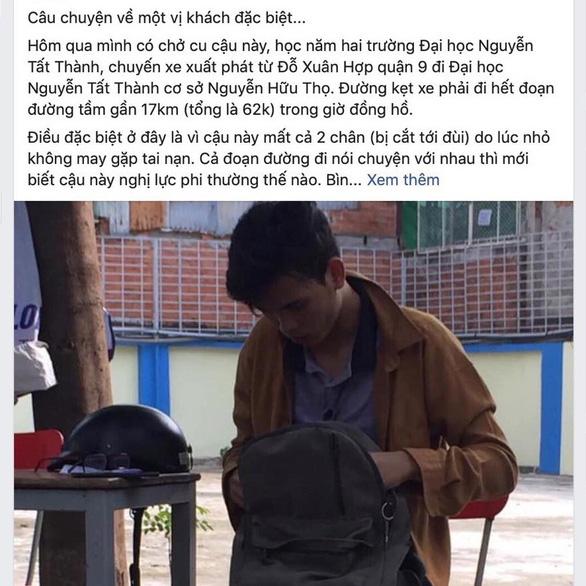 Tài xế xe ôm không lấy tiền của sinh viên mất hai chân: Cho đi rồi người khác cho lại mình - Ảnh 3.