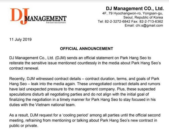 Quá trình đàm phán gia hạn hợp đồng với HLV Park Hang Seo tạm đóng băng - Ảnh 2.