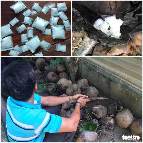 Bắt giữ nghi phạm bán ma túy giấu hàng trong... đống vỏ dừa - Ảnh 1.