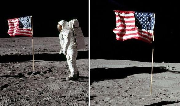 Vì sao trên Mặt trăng không có không khí mà quốc kỳ Mỹ tung bay? - Ảnh 1.