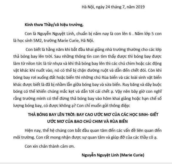 Cô bé lớp 6 gửi thư đề nghị không thả bóng bay trong lễ khai giảng - Ảnh 1.