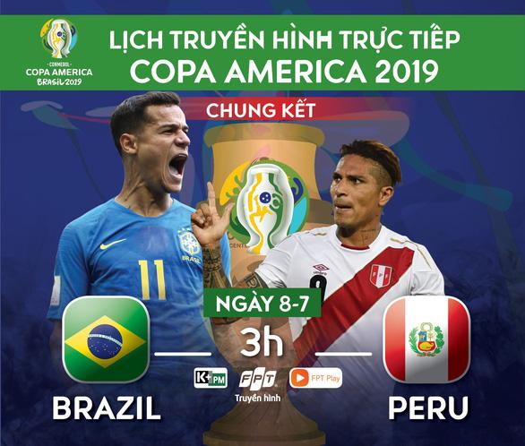 Lịch trực tiếp chung kết Copa America 2019: Brazil đối đầu Peru - Ảnh 1.