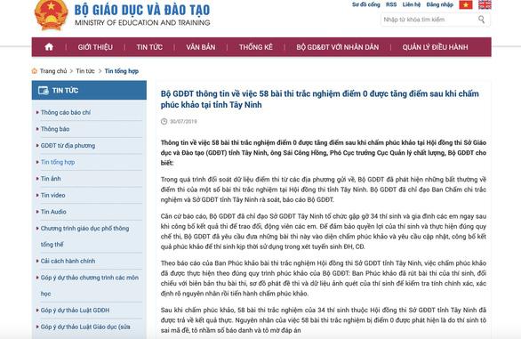 Bộ GD-ĐT nói không kết luận 58 bài thi điểm 0 do 'lỗi thí sinh' - Ảnh 1.