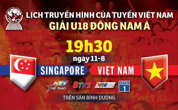 Lịch truyền hình U18 Việt Nam gặp Singapore ở Giải U18 Đông Nam Á 2019 - Ảnh 1.