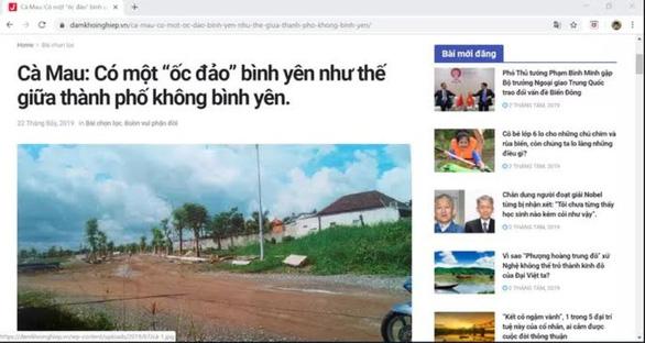 Đề nghị xử lý bài viết ốc đảo bình yên về chủ tịch tỉnh Cà Mau - Ảnh 1.