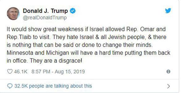 Ông Trump gây áp lực, Israel từ chối hai nghị sĩ Mỹ nhập cảnh - Ảnh 2.