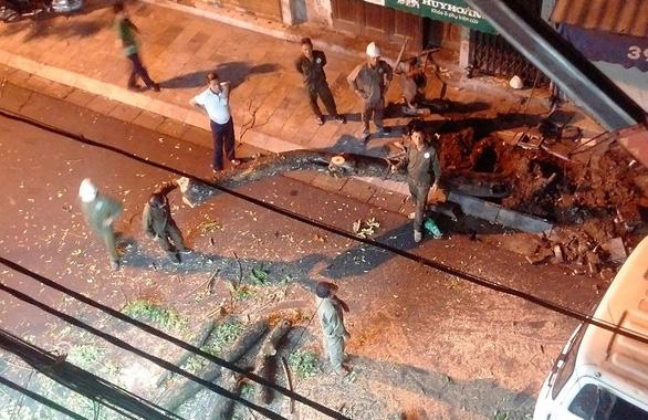 Chặt hạ khẩn cây sưa đỏ trên phố cổ Hà Nội vì đổ nghiêng - Ảnh 1.