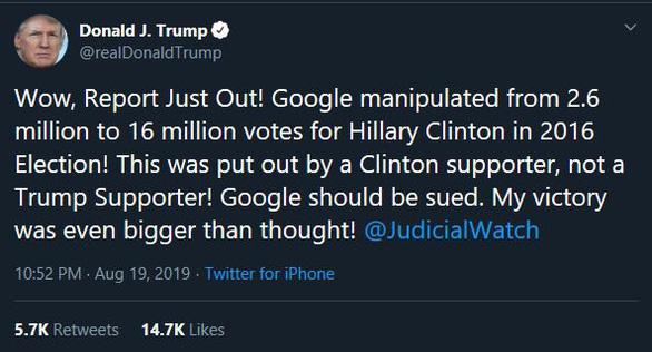 Ông Trump: 'Google đã thao túng phiếu bầu vào năm 2016' - Ảnh 2.