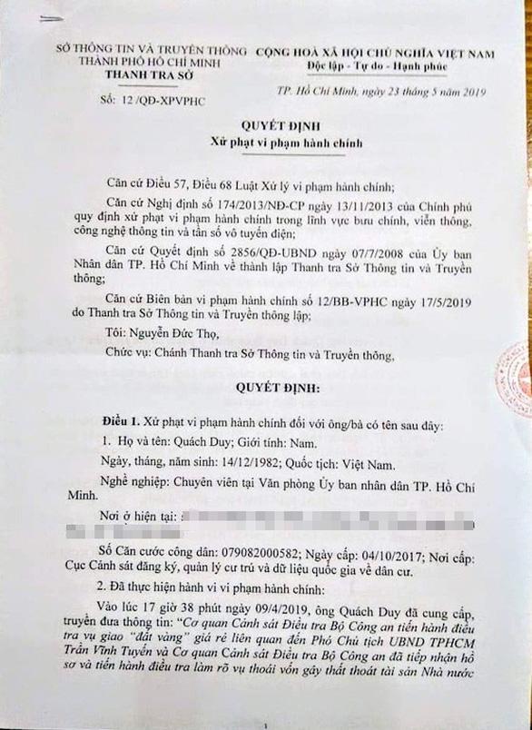 Chuyên viên UBND TP.HCM Quách Duy bị khai trừ Đảng - Ảnh 1.