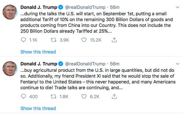 Ông Trump bất ngờ tuyên bố áp thuế 300 tỉ USD hàng Trung Quốc - Ảnh 2.