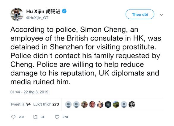 Global Times: Nhân viên lãnh sự quán Anh ở Hong Kong bị bắt vì thăm gái mại dâm - Ảnh 2.