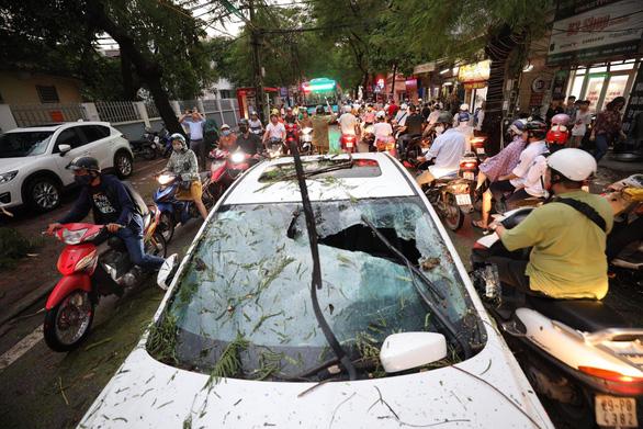 Cây đổ la liệt trên đường phố Hà Nội, 1 người chết, 1 người bị thương - Ảnh 1.