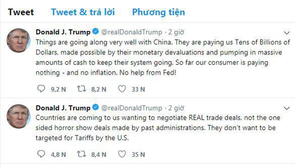 Ông Trump: Trung Quốc trả Mỹ chục tỉ đô, dân Mỹ không tốn xu nào - Ảnh 2.