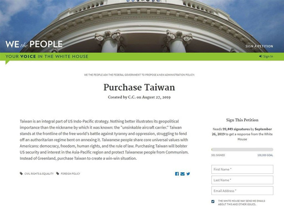 Đài Loan tức giận vì thỉnh nguyện thư đòi mua đảo này - Ảnh 1.