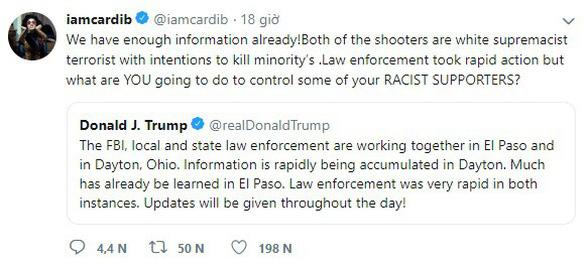 Rihanna, Cardi B chỉ trích ông Trump trong vụ xả súng phân biệt chủng tộc - Ảnh 3.