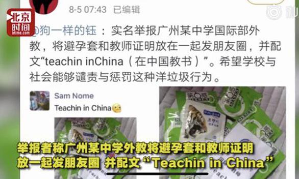 Giáo viên nước ngoài đăng ảnh bao cao su lên We Chat, gây phẫn nộ ở Trung Quốc - Ảnh 1.