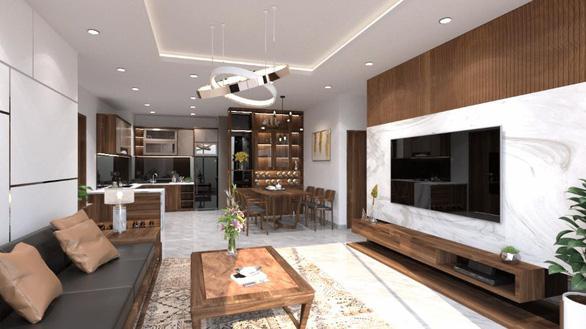 Căn hộ 3 phòng ngủ trở nên sang trọng, hiện đại hơn nhờ chất liệu gỗ tối màu - Ảnh 3.