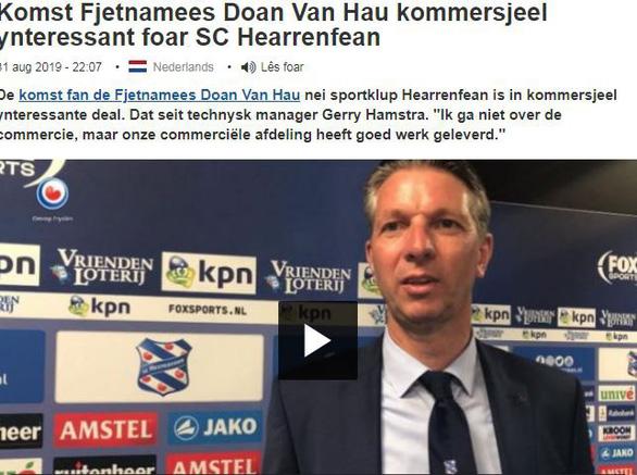 Giám đốc kỹ thuật FC Heerenveen: Đoàn Văn Hậu là một cầu thủ rất giỏi - Ảnh 1.
