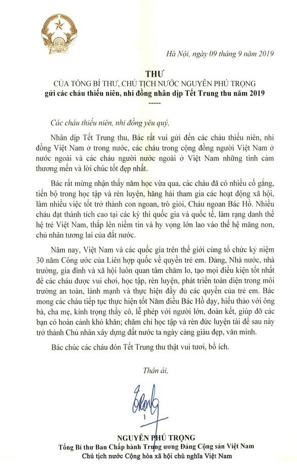 Tổng bí thư, Chủ tịch nước Nguyễn Phú Trọng gửi thư chúc Tết Trung thu cho thiếu nhi - Ảnh 2.