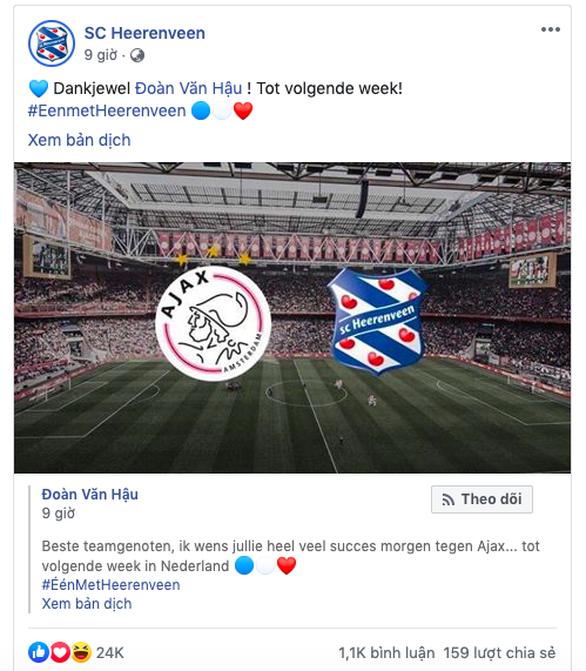 Đăng một tút hẹn gặp Văn Hậu, Heerenveen có ngay 24.000 like - Ảnh 1.