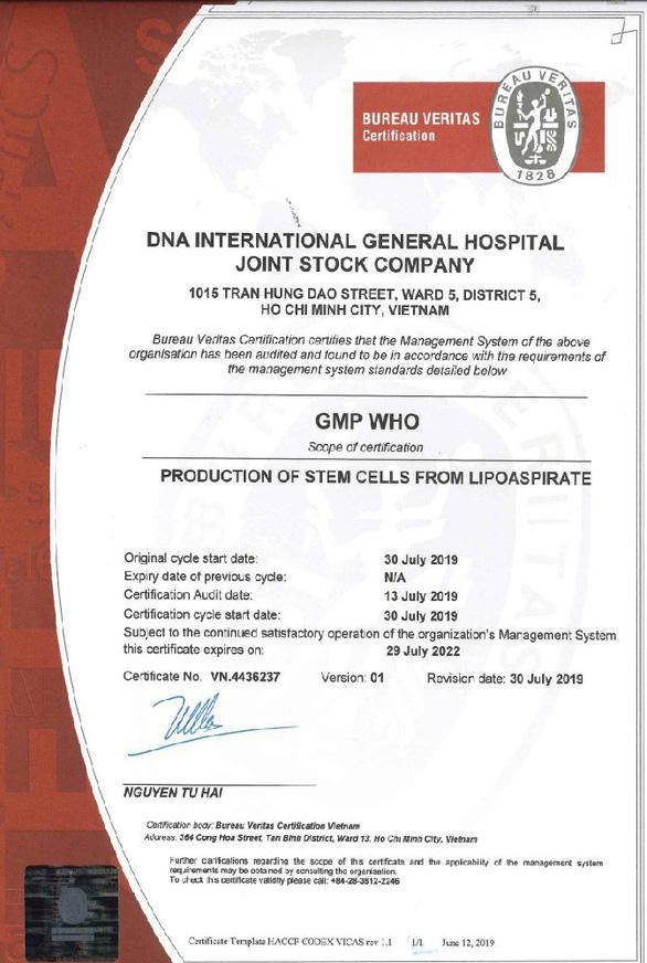 Bệnh viện Quốc tế DNA đạt chuẩn Viện Tế bào gốc GMP-WHO - Ảnh 2.
