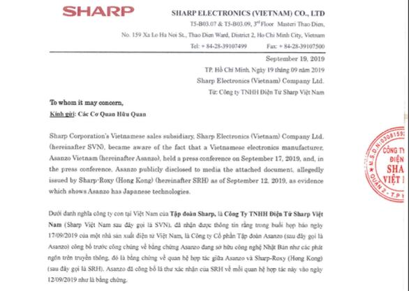 Sharp Việt Nam khẳng định Asanzo giả mạo bằng chứng sở hữu công nghệ - Ảnh 2.