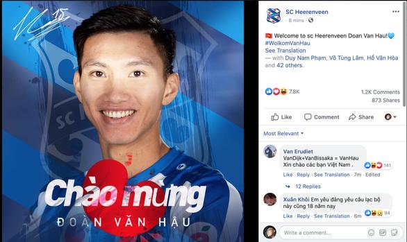 SC Heerenveen thông báo chào mừng Văn Hậu bằng tiếng Việt - Ảnh 1.