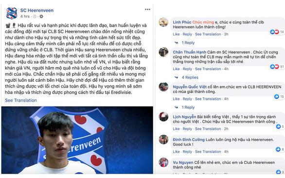 CĐV cám ơn CLB Heerenveen vì đăng clip Văn Hậu và dịch bài viết sang tiếng Việt - Ảnh 1.