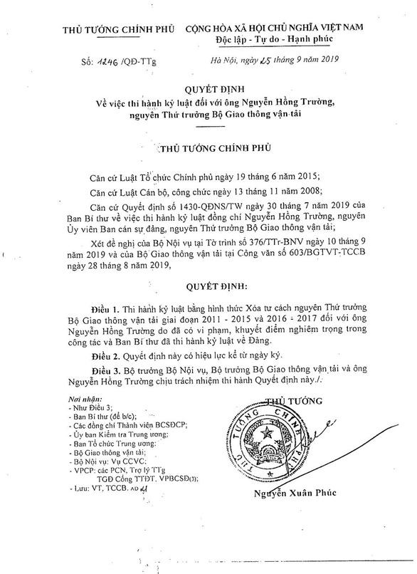Kỷ luật ba thứ trưởng, một cựu thứ trưởng Bộ Giao thông vận tải - Ảnh 2.