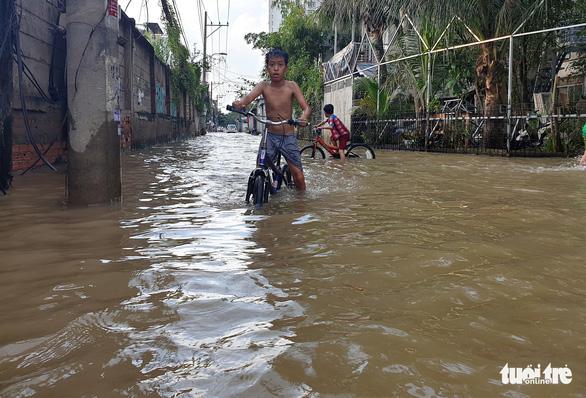 Triều cường dâng cao, nhiều đường ven sông tại TP.HCM ngập nặng - Ảnh 2.