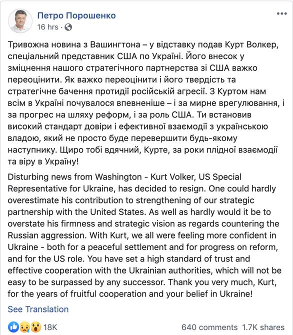 Giới chính trị Ukraine gọi việc đặc phái viên Mỹ từ chức là mất mát thật sự - Ảnh 2.