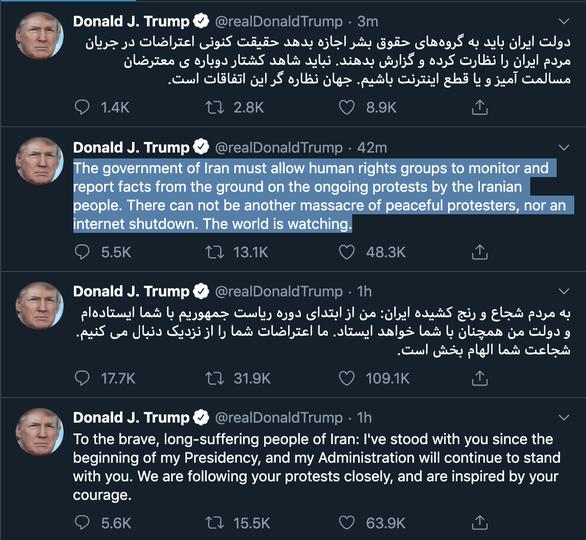 Tổng thống Trump tuyên bố ủng hộ biểu tình đòi lãnh tụ Iran từ chức - Ảnh 3.