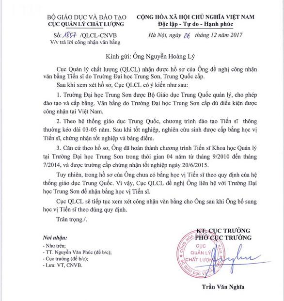 Giảng viên học ở Trung Quốc khẳng định chưa được công nhận học vị tiến sĩ - Ảnh 2.