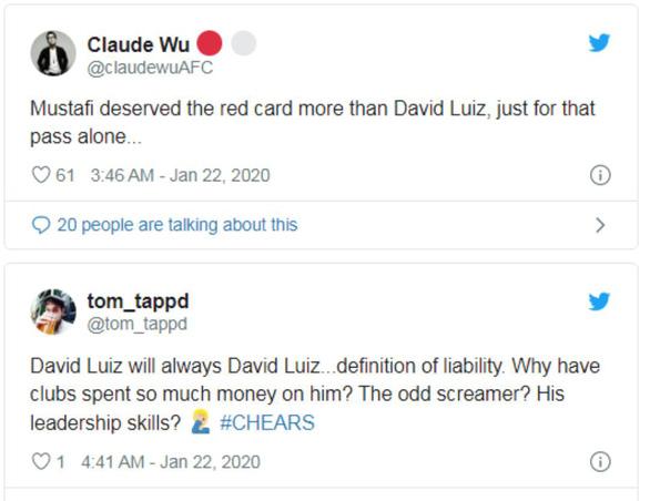 Cổ động viên Arsenal gọi Luiz và Mustafi là những 'gã hề' sau trận hòa Chelsea - Ảnh 2.