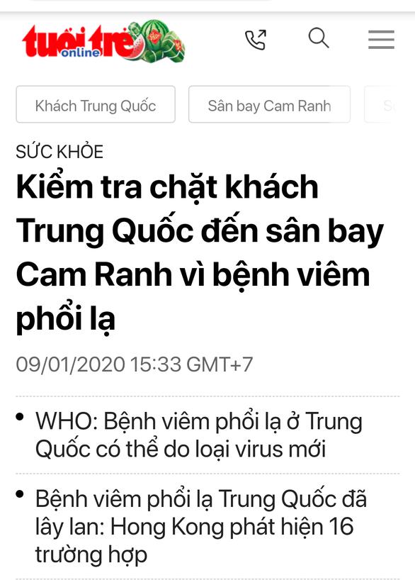 Giám sát dịch tễ về virút corona liên quan 2 khách Trung Quốc khi ở Nha Trang - Ảnh 1.