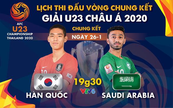 Lịch trực tiếp chung kết Giải U23 châu Á 2020: Hàn Quốc gặp Saudi Arabia - Ảnh 1.