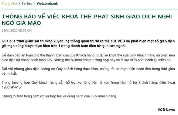 Vietcombank khoá thẻ phát sinh giao dịch nghi ngờ giả mạo - Ảnh 2.