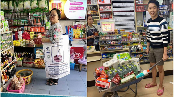 Dân Thái xách giỏ lưới, đẩy xe cút kít thay túi nhựa khi mua sắm - Ảnh 1.