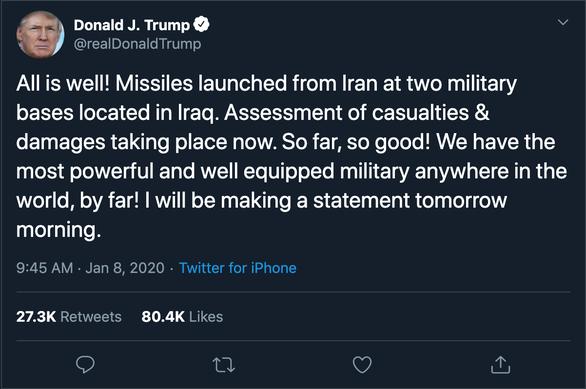Iran trả đũa, Tổng thống Trump: Tất cả đều ổn - Ảnh 2.