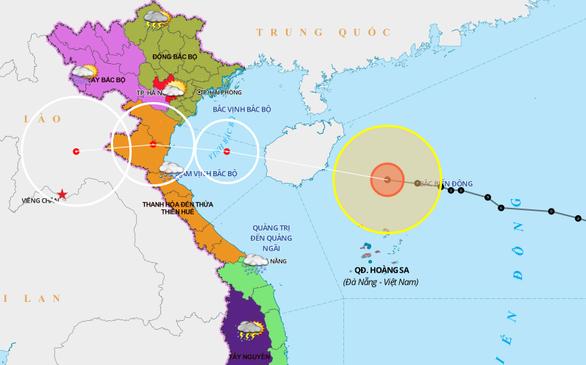 Chiều 14-10, bão số 7 ảnh hưởng đến nam đồng bằng Bắc Bộ và Bắc Trung Bộ - Ảnh 1.