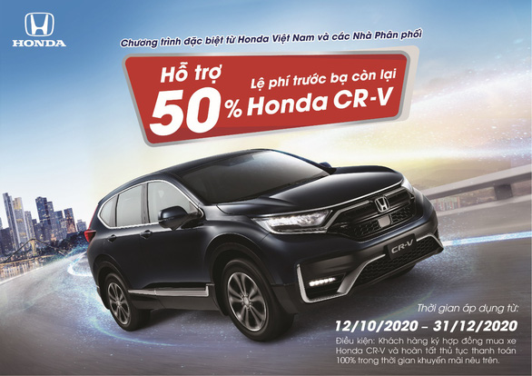 Hỗ trợ 50% lệ phí trước bạ còn lại cho khách hàng mua Honda CR-V - Ảnh 1.