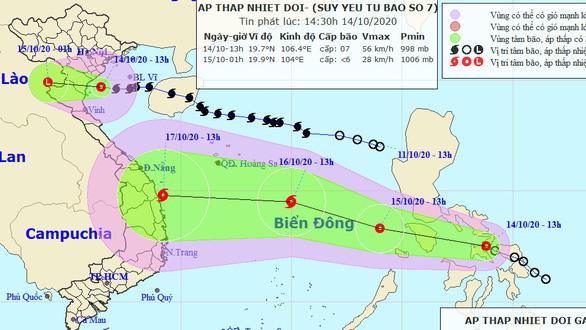 Bão số 7 suy yếu thành áp thấp nhiệt đới - Ảnh 1.