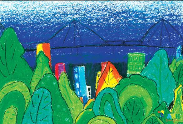 Ngộ nghĩnh thành phố xanh tương lai trong hình dung của các em thiếu nhi - Ảnh 2.