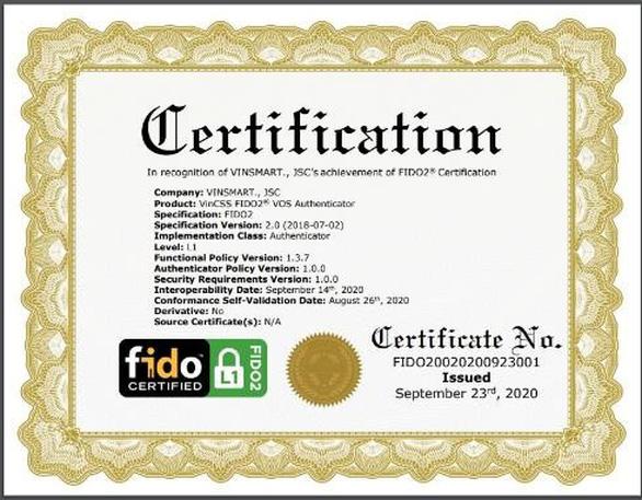 Hệ điều hành VOS trên điện thoại Vsmart đạt chứng chỉ xác thực trực tuyến FIDO2 - Ảnh 1.