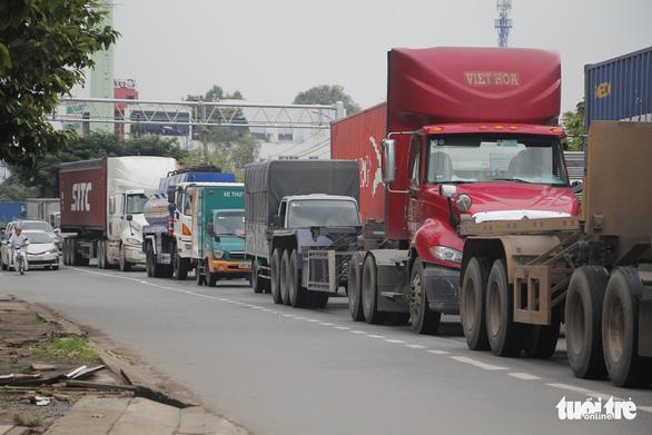 Kẹt cứng đường vào cảng Cát Lái, xe đưa dâu chôn chân trên cầu Phú Mỹ - Ảnh 3.