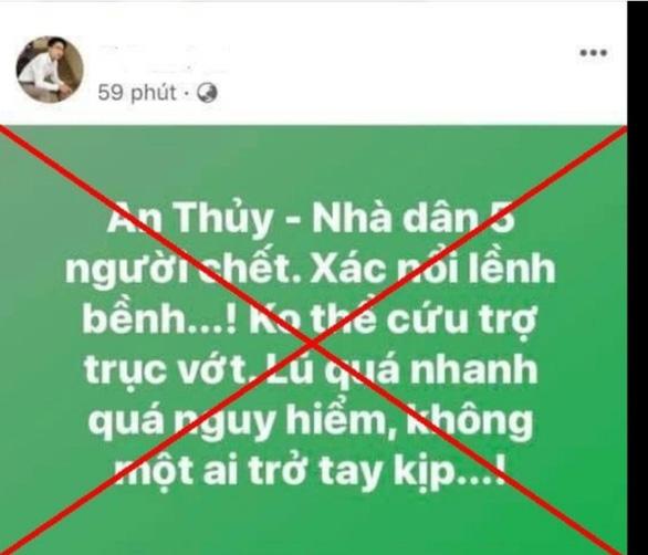 Hai người bị xử phạt vì đăng tin sai sự thật về lũ lụt trên mạng xã hội - Ảnh 1.