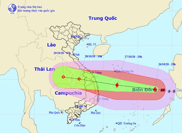 Tối 27-10, tâm bão số 9 ngoài khơi Đà Nẵng đến Phú Yên, gió giật cấp 17 - Ảnh 1.